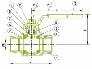 Guľový ventil 2-PC Guľový ventil 2-PC