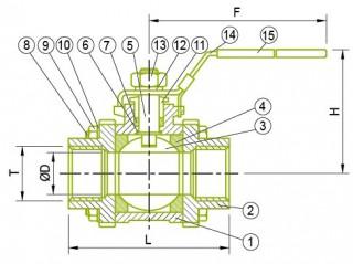 Guľový ventil 3-PC Guľový ventil 3-PC