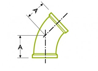 Hygienic Clamp Joint : 45º Elbow DT17