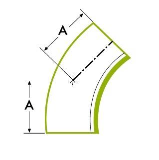 45 ° garš caurules izliekums īsziņa