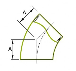 45 ° īsās caurules liekums 1.5D 3A 2WK