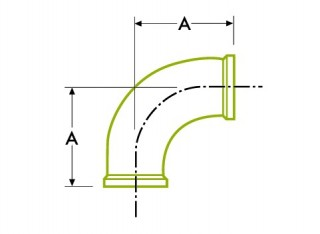 Hygienic Clamp Joint : 90º Elbow DT16