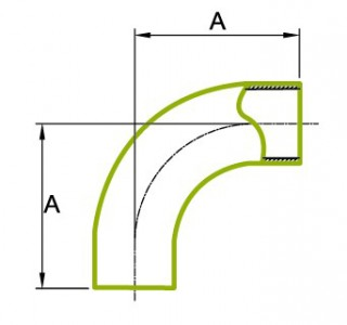Bend Tube Panjang 90 ° 1.5D 3A 2S