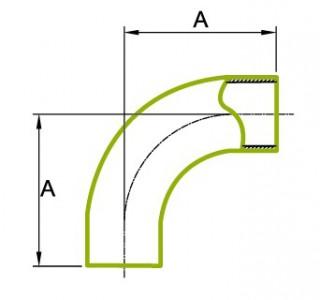 90 ° garš caurules liekums 1.5D 3A 2S