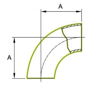 90 ° īsās caurules liekums 1.5D 3A 2WCL