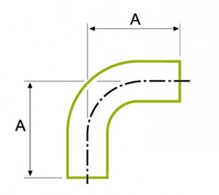 90 ° īsās caurules liekums 1.5D BS