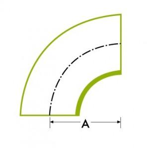 90 ° īsās caurules liekums 1.5D īsziņa