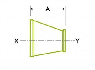 Higiēnisks skavas savienojums: koncentrisks reduktors / ekscentrisks reduktors DT21