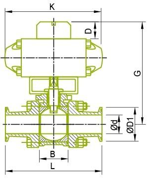 Montāžas izpildmehānisms lodveida vārstam Lodveida vārsts
