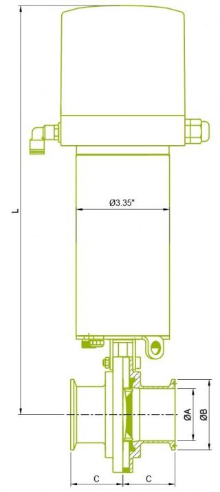 S3 izpildmehānisms ar vadības bloku + tauriņa vārsts S3 izpildmehānisms ar vadības bloku + tauriņa vārsts