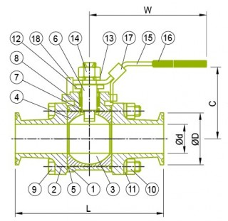 Sanitárny guľový ventil Guľový ventil