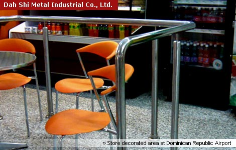 Dah Shi stainless steel railing fitting is used in store decorated area at Dominican Republic Airport
