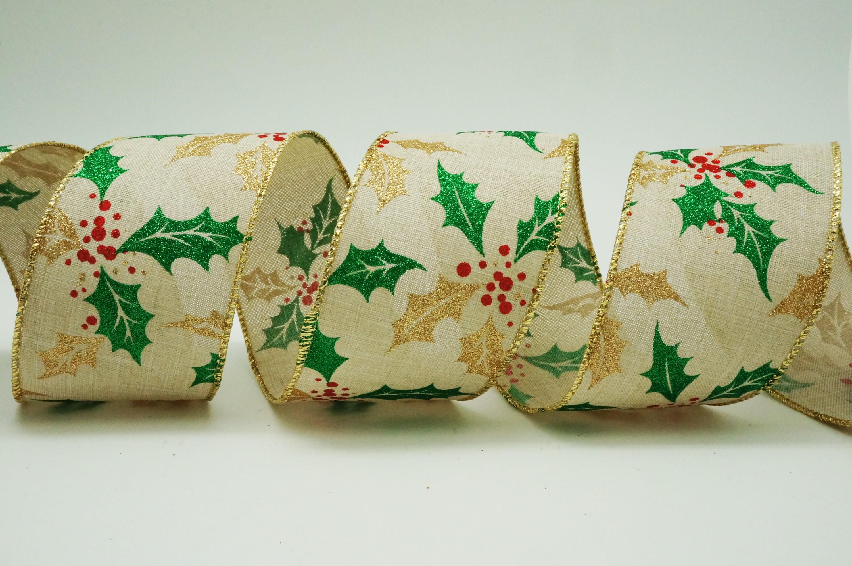 Christmas Holly Berries Leaves Ribbon