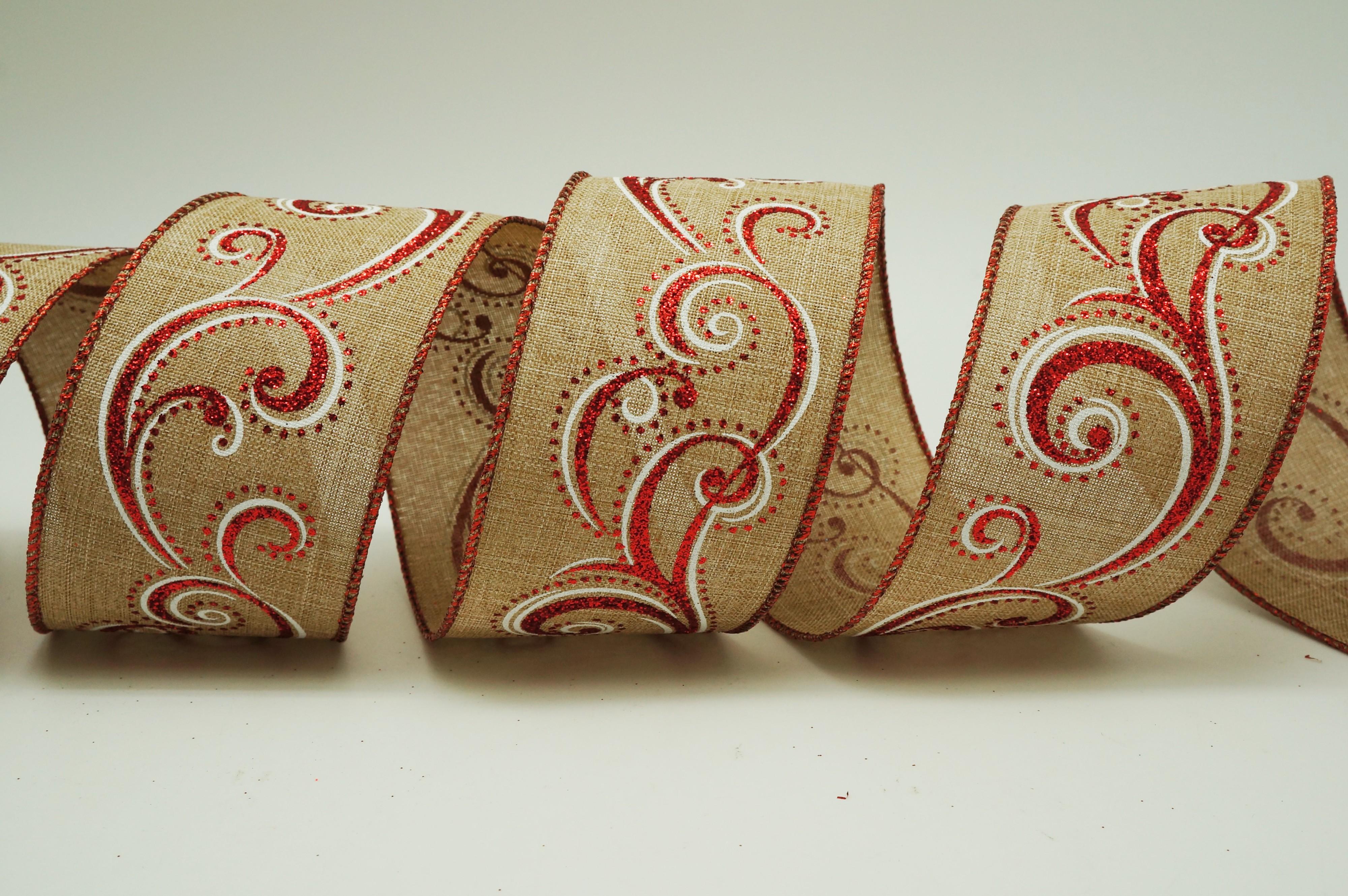 Scrolls Burlap Ribbon