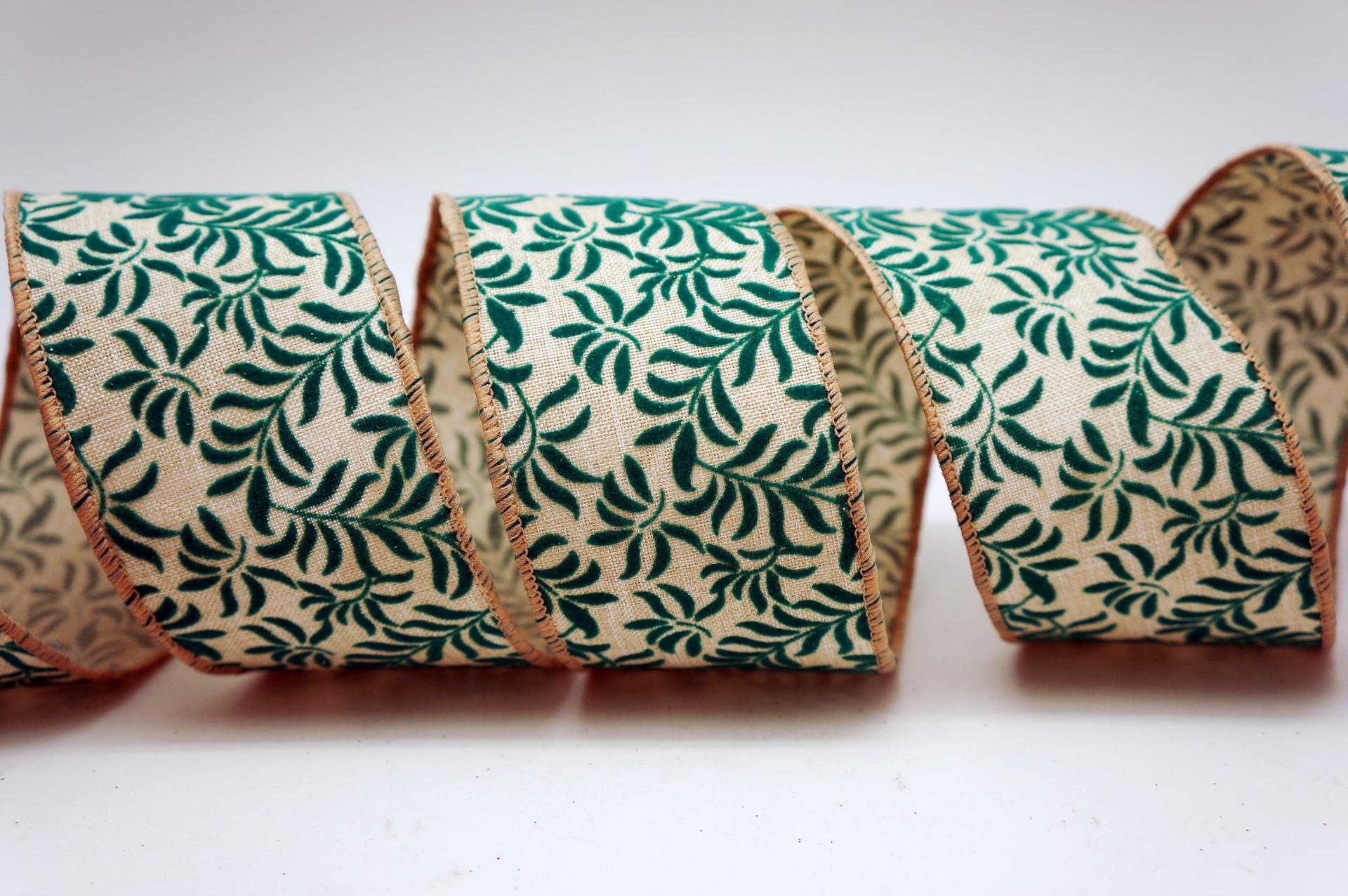 Christmas Fern Leaves Ribbon