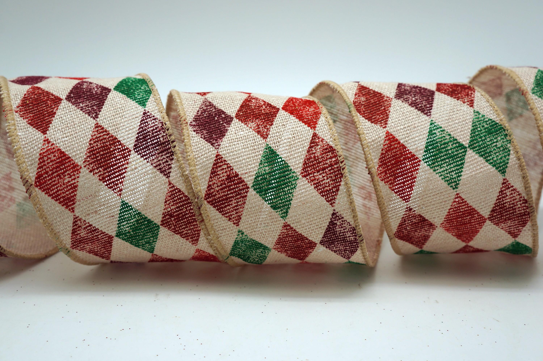 Retro Harlequin Check Cotton Ribbon