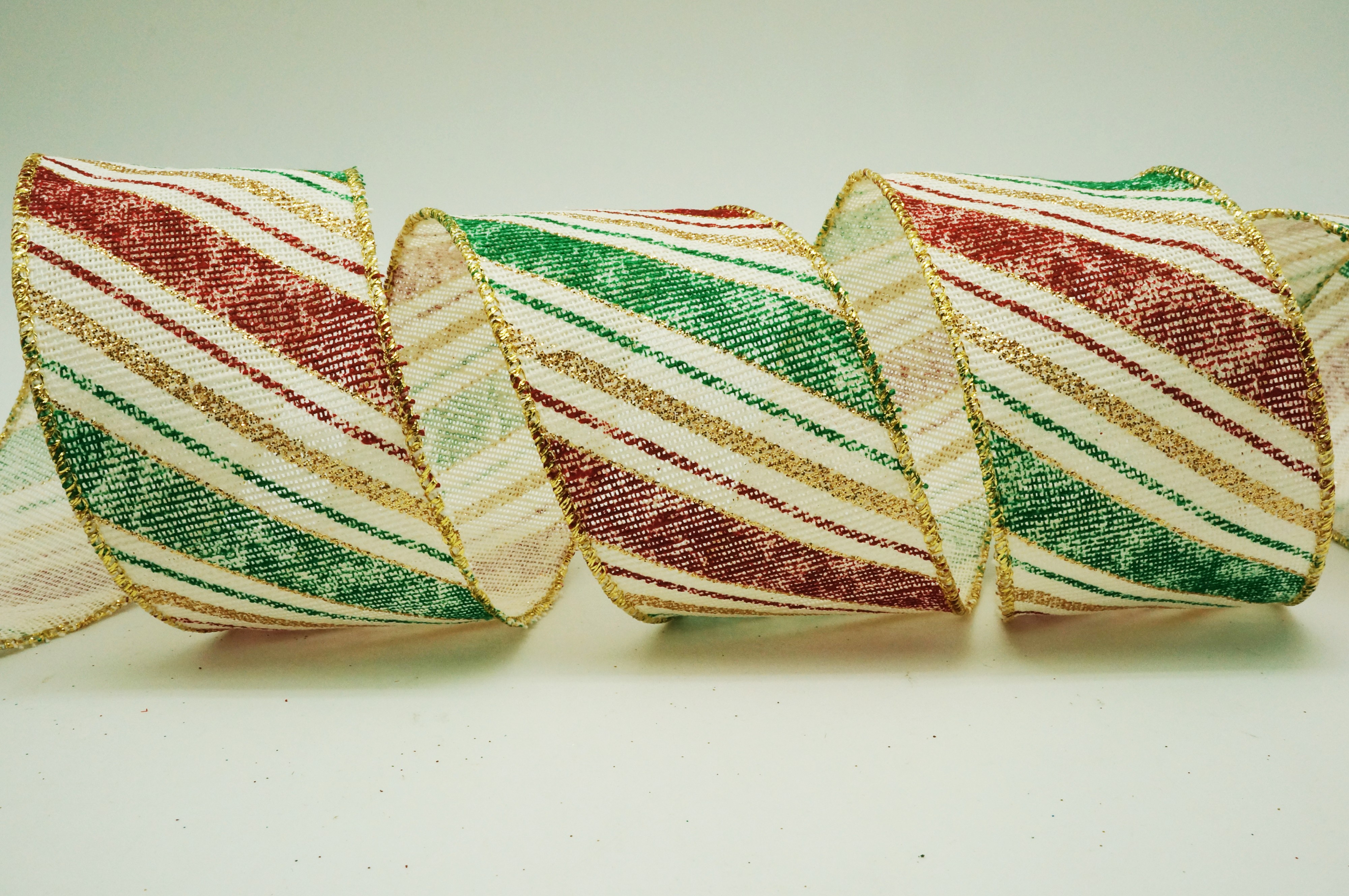 Retro Slant Stripes Cotton Ribbon