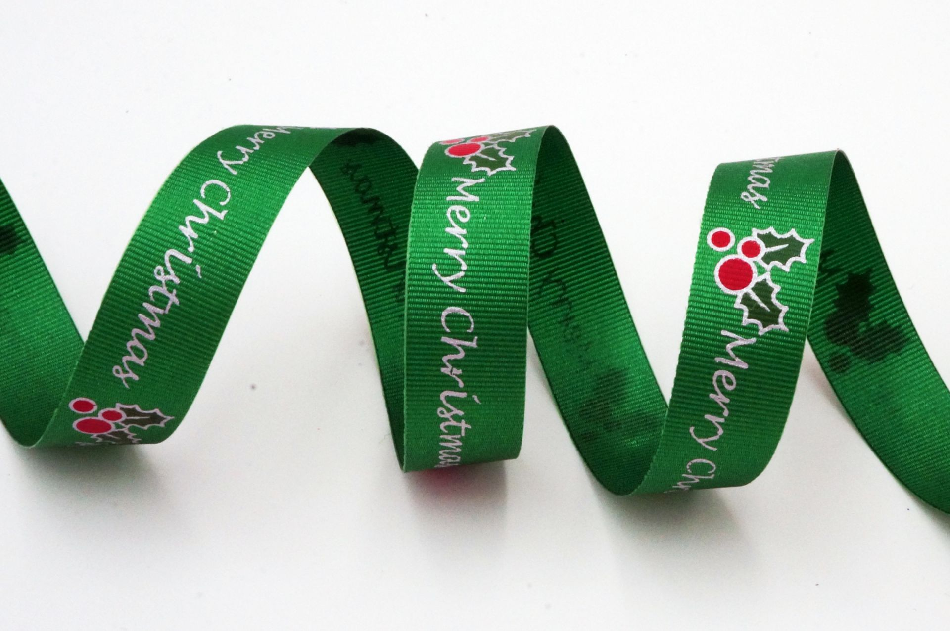 Merry Christmas & Holly Berries Ribbon