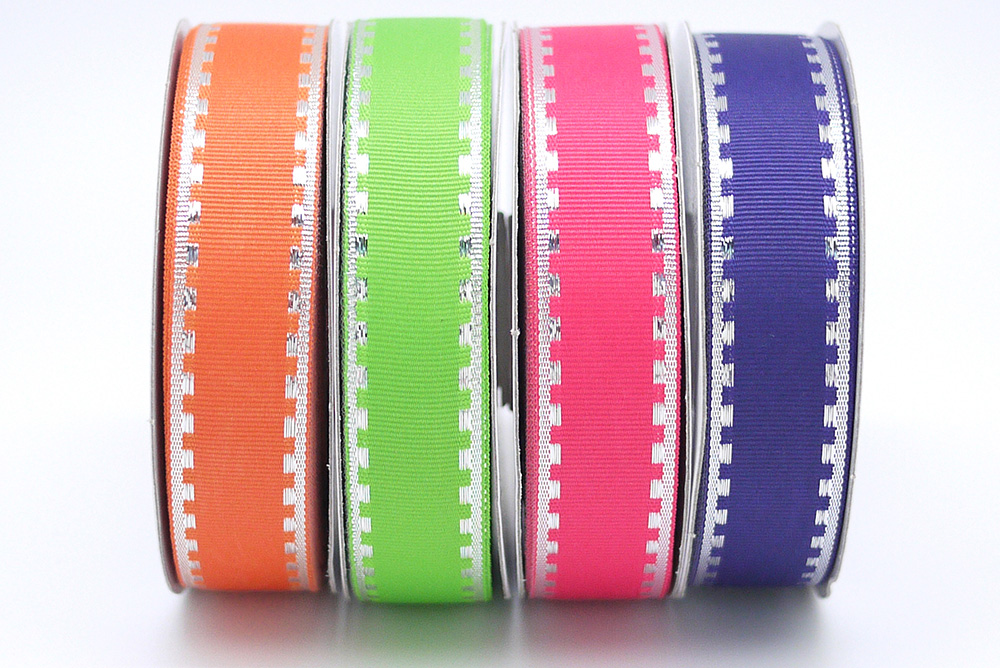 Silver Side Stitching Grosgrain Ribbon