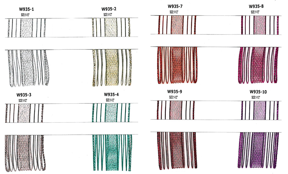 Polyester Sheer Metallic Stripe Ribbon