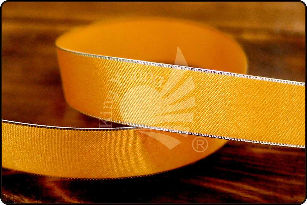 Satin ribbon gift ribbon decorative ribbon red with gold edge 15 mm 50 m