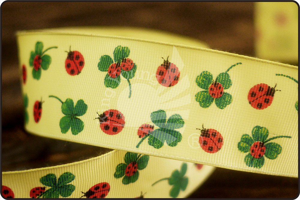 Ladybug & Clover Print Grosgrain Ribbon