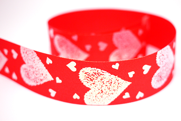 Iridescent Big Hearts Print Ribbon