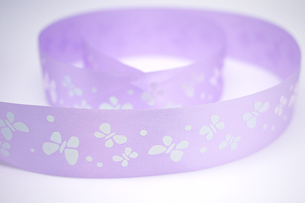 Iridescent White Butterfly Print Ribbon