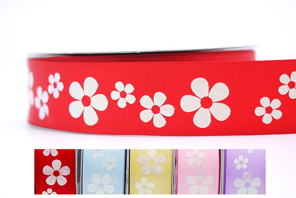 Iridescent White Flowers Print Ribbon
