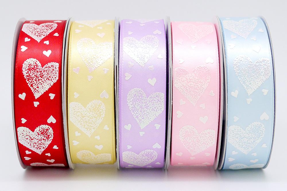Iridescent Hearts Everywhere Print Ribbon