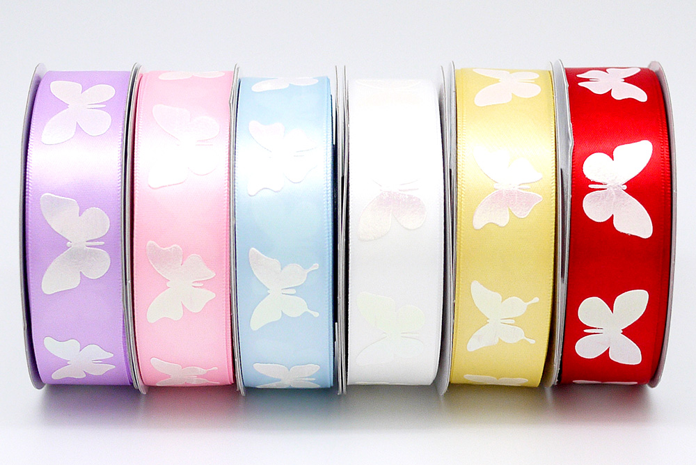 Iridescent White Butterfly Ribbon