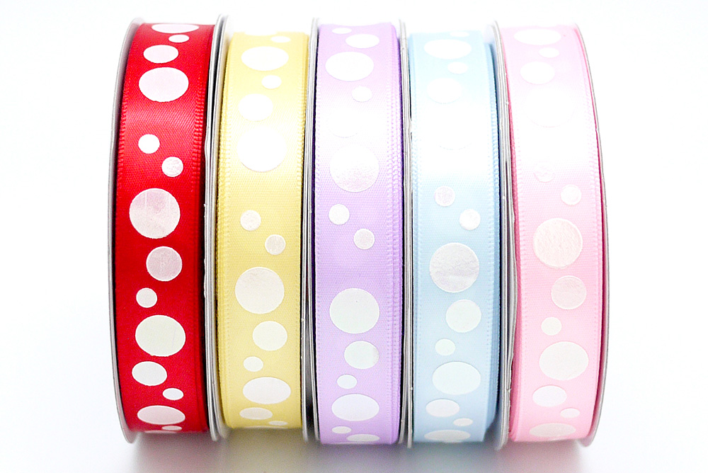 Iridescent Dots Print Satin Ribbon