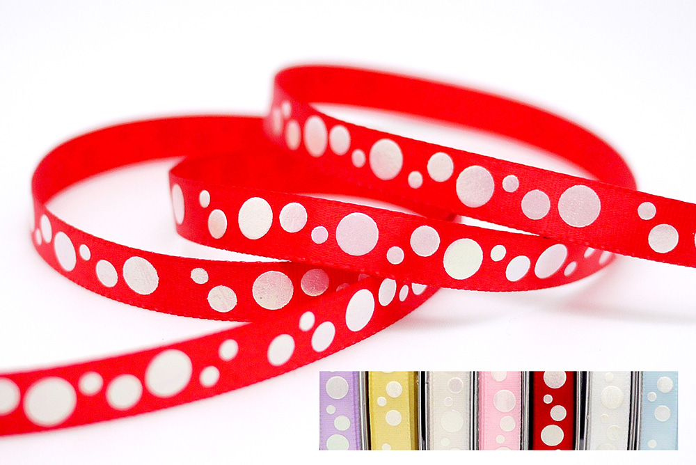 Iridescent White Dotty Print Ribbon