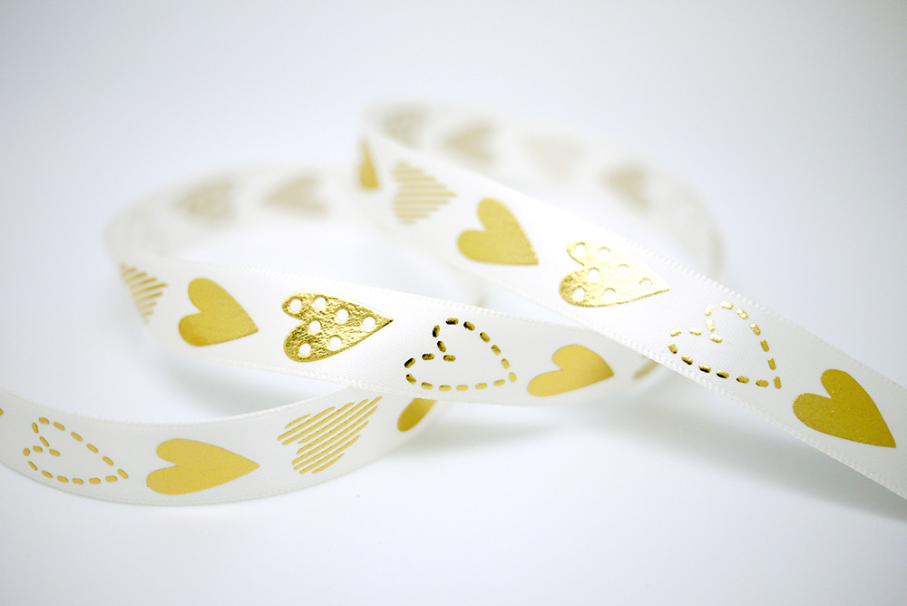 Gold Embossed Hearts Print Satin Ribbon