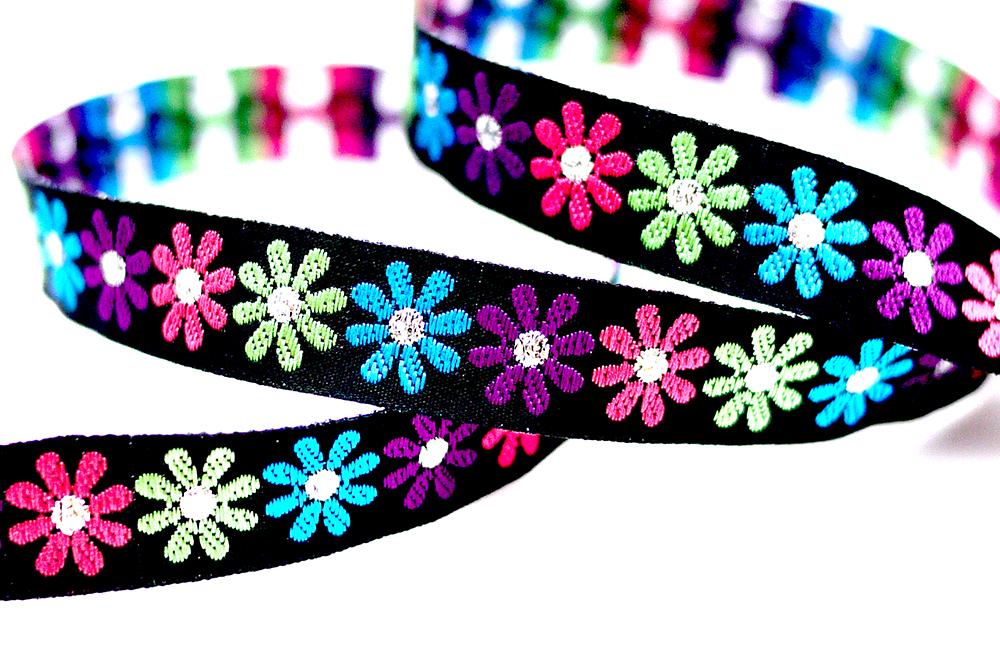 Multi-colored Flower Jacquard Ribbon