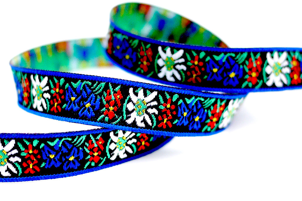 Cinta Jacquard estilo flor / folk