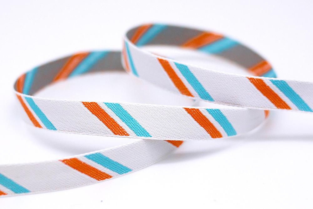 Bicolored Stripe Jacquard Ribbon