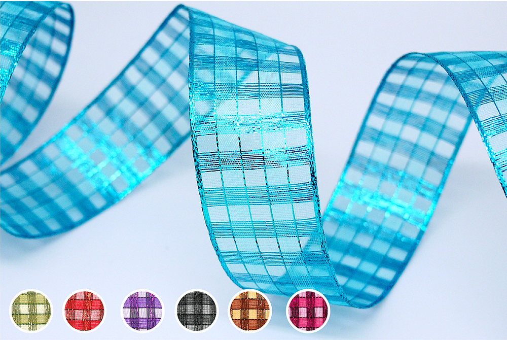 Metallic Checks Ribbon