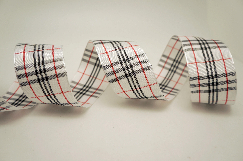 Black/Red/White Plaid Ribbon