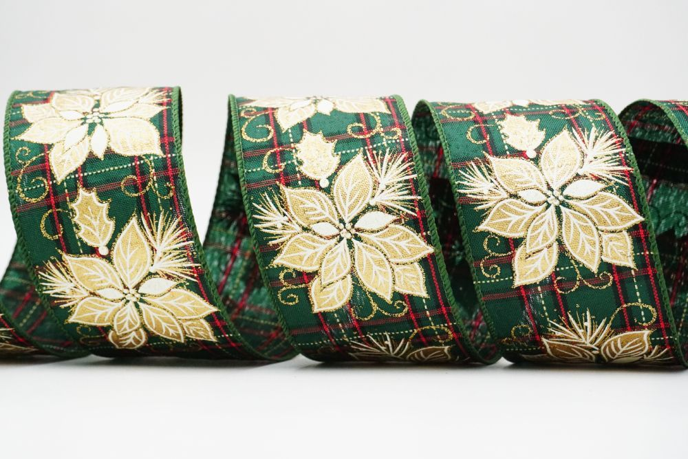 Golden Poinsettia on Red Green Plaid Ribbon