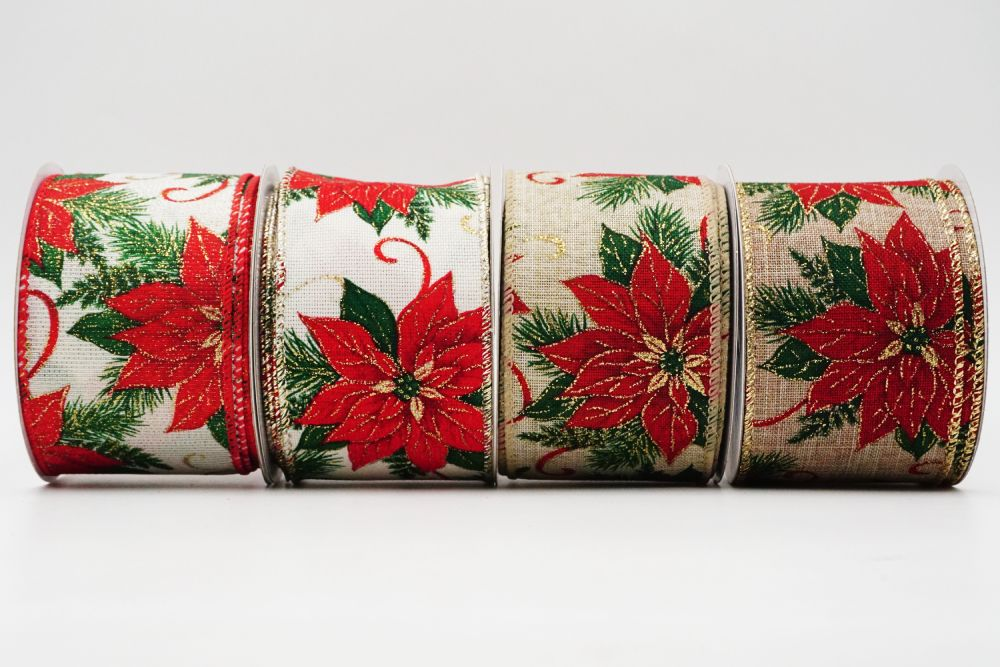 Christmas Red Poinsettia Ribbon
