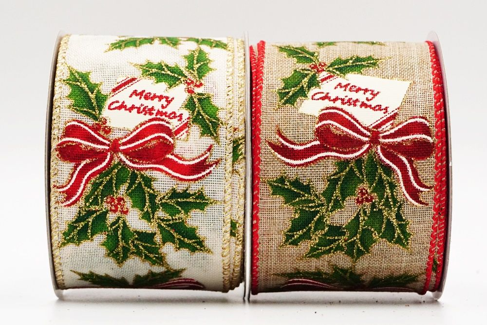 Christmas Words Holly Wired Ribbon
