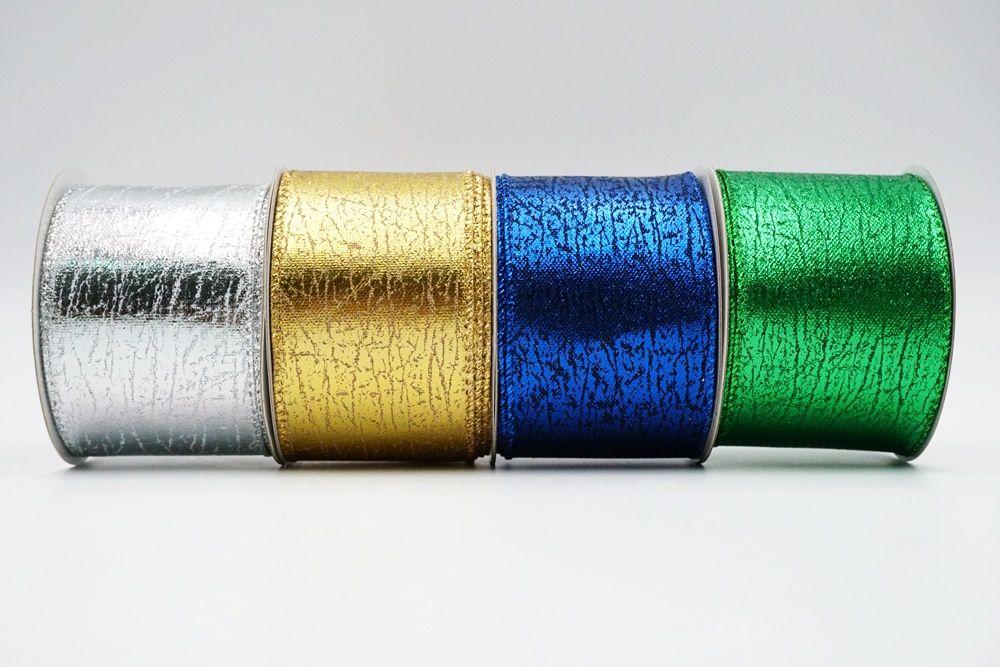 Glitter Wood grain Wired Ribbon