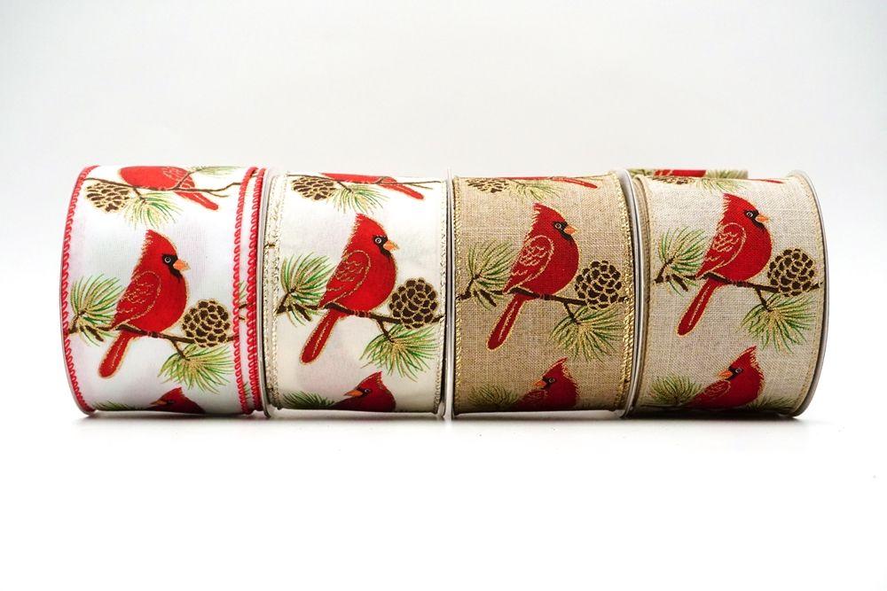 Christmas Cardinal Birds on treetops