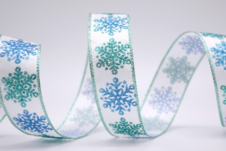Bi-colored Snowflakes Satin Ribbon - Bi-colored Snowflakes Satin Ribbon