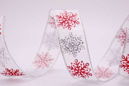 Bi-colored Snowflakes Thick Organza Ribbon - Bi-colored Snowflakes Thick Organza Ribbon