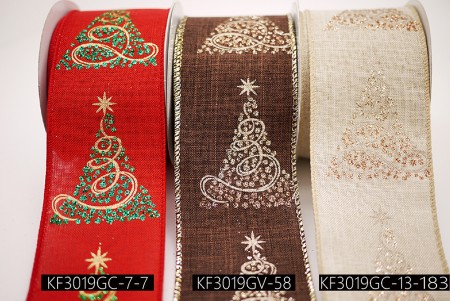 Glittery Christmas Tree Ribbon - Glittery Christmas Tree Ribbon