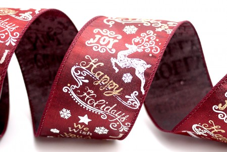 Christmas Wording & Icons Satin Ribbon - Christmas Wording & Icons Satin Ribbon