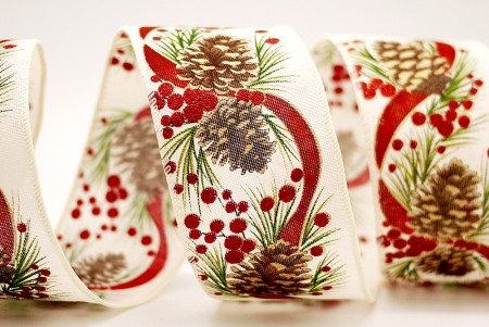 Red Ribbon & Pinecone Ribbon - Red Ribbon & Pinecone Ribbon