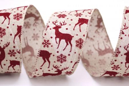 Deer Snowflake Faux Burlap Ribbon - Deer Snowflake Faux Burlap Ribbon